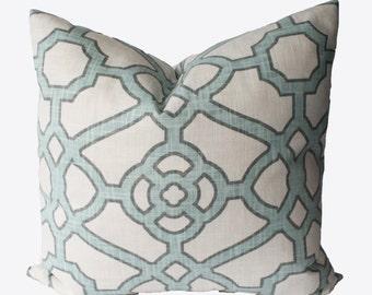 Decorative Lattice Blue, Fretwork Pillow Cover, 18x18, 20x20, 22x22 or Lumbar Trellis Throw PIllow