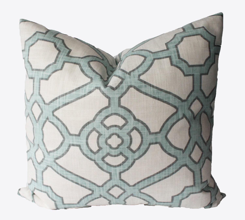 Blue Lattice Throw Pillow : Decorative Lattice Blue Fretwork Pillow Cover 18x18 20x20