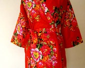 DD8 Bridesmaid floral robe, Red Robe for Bride, Maid of Honour, wedding robes, cotton flower print DD8