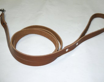 Warner 6 foot stitched and riveted rich brown leather dog leash snap lead 5/8 inch width