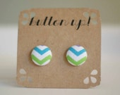 Blue Green and White Chevron Covered Button Earrings