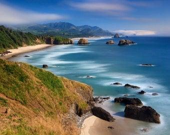 Large Aerial Beach Photography, Cannon Beach, Oregon Coast Ocean Photo Print Coastal Decor Pacific Northwest Wall Art Teal Blue Green