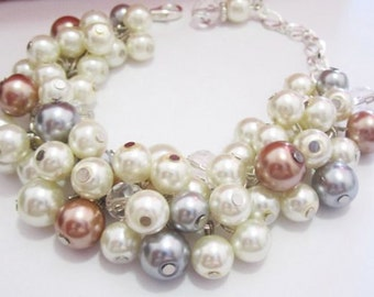 Chunky Pearl Bracelet, Bridesmaid Gifts, Pearl Cluster Bracelet, Bridesmaid Bracelet, Ivory, Gray and Dark Champagne