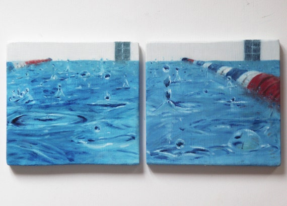 SALE !!! Blue painting Small oil diptych Raindrops reflections. Swimming pool in the Rain 3-4 Square paintings