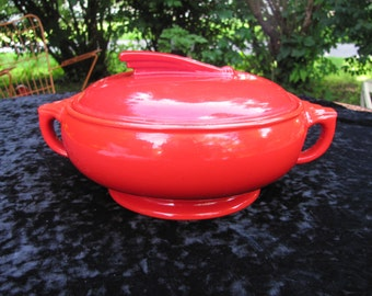 Vintage Hall Chinese Red Sundial Casserole Dish Art Deco