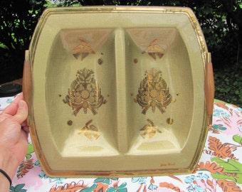 Georges Briard Gold Aqua Doves Double Bowl Serving Platter