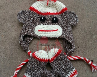 Crochet Sock Monkey Hat & Mittens