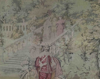 19thCentury Wall hanging one-of-a-kind TAPESTRY GOBELIN PICTURE antique scene of ladies and gentlemen in park with dog weaving