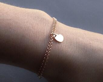 Heart Bracelet, Rose Gold Bracelet, Minimalist Bracelet,Simple Heart Bracelet, Minimalist Jewelry,Love Jewelry, Valentines Bracelet