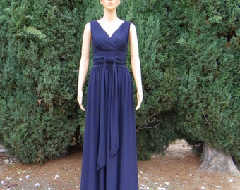 Navy Blue Bridesmaid Dress.Navy Blue Prom Dress