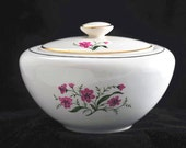 Knowles Spring Song Pink Floral Sugar Bowl with Lid Vintage 1950s