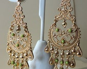 Vintage Detailed Chandelier Earrings w Sage Color Stones