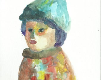 Original Watercolor Portrait Painting- Boy in a Colorful Coat