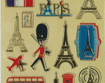 Japanese/ Korean Golden Paper Seal Stickers -I Love UK and France