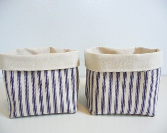 Canvas Fabric Storage Baskets - Blue Ticking Stripe - Set of 2 - Home Decor - Gift Basket
