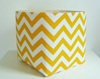 Extra Large Storage Basket Fabric Organizer in Yellow and White Chevron Zig Zag with Canvas liner - Choose Your Size