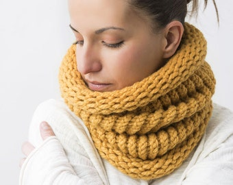 Chunky neckwarmer mustard knitted cowl scarf
