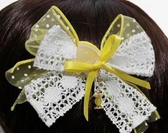 Sweet Polka Dot Candy Lemon Drop Hair Bow