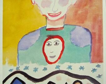Mom & Baby Henry Miller Blank Card Vintage