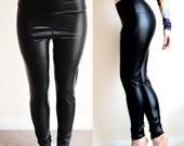 High Waist PVC Black Wet look immitation leather leggings pants tights