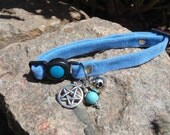 Protective Blue Cat Collar with Turquoise and Pentacle Charm For Protection Pagan Wiccan  Feline Familiar