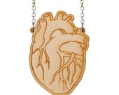 Anatomical Heart necklace - laser cut wood