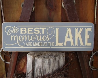 Lake Signs, The Best Memories Are Made At The Lake, Lake House Decor, Lake Decor, Lake House Wall Art, Cottage Decor, Wood Signs