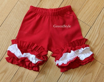 Ruffled shorties in True Red and White  from GreenStyle