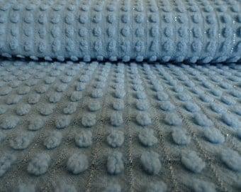 "Blue Morgan Jones Chenille Pops With Silver Lurex Thread Vintage Bedspread Fabric...12 x 24"""