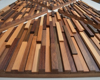 Geometric Four Piece Wood Strip Wall Hanging in Five Shades
