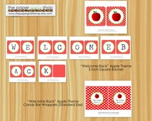 Welcome Back to School Banner | Welcome Back to School Candy Bar Wrappers | Instant Download