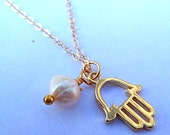gold hamsa necklace, 14k gold filled chain, hamsa pearl delicate charm necklace