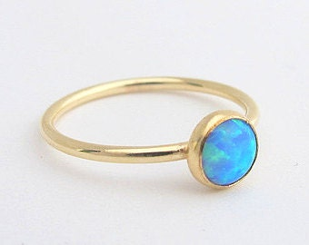 gold opal ring,6mm stacking ring, opal stacking ring, blue opal ring