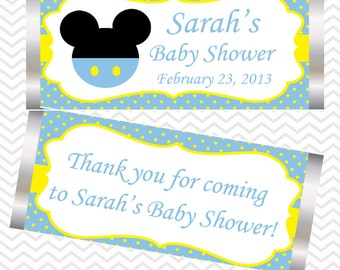 Blue Mickey Mouse Head  - Personalized Candy Bar Wrapper
