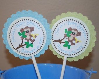 Blue Monkey Cupcake Toppers - Set of 12 Personalized Birthday Baby Shower Decorations