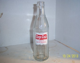 1960's Hope Club Beverages Providence, RI 8 oz clear acl painted label soda bottle
