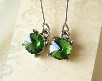 Grass green rivoli crystal earrings