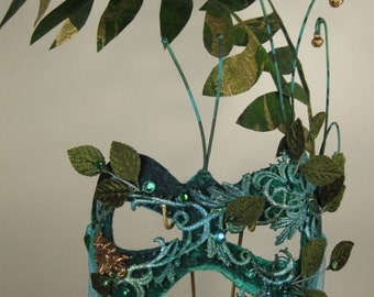 Green and Turquoise Masquerade Mask