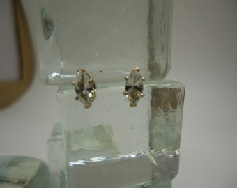 Marquise Cut White Sapphire Earrings in Sterling Silver   #859