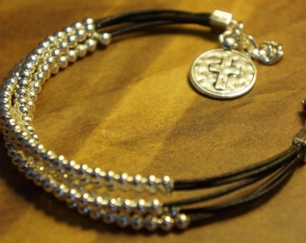 Silver Beaded Leather Layers Bracelet, Western Faith, Stackable