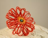 Red Flower Ring- Hemp Flower Adjustable Ring- Funky Red and Yellow- Poppy