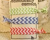 Chevron Elastic Hairties- Chevron Ponytail Holders- Set of 3 Fold Over Elastic Hair Ties- Party Favor