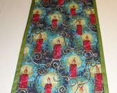 "Reversible christmas,new year table Runner with 6 napkins . Size 13""x 53"", 6 napkins size 14,5""x14,5"" two beautiful fabrics"