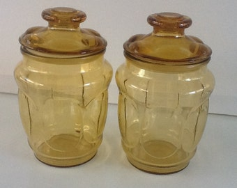 Vintage Amber Glass Jar Set of Two