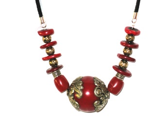 Ornate Red Statement Necklace