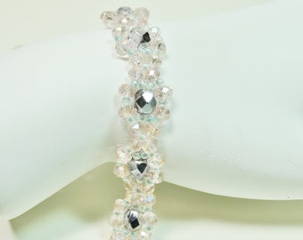 Pale Pink Crystal Bracelet, Bead Woven Bracelet, Pink Bracelet