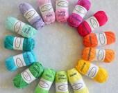15 balls Cotton Yarn Rainbow Colours, Granny Kit Yarn Ready to ship by CrochetObjet