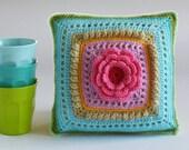 Crochet Flower Cushion, Pink Flower, Turquise, Purple, Yellow, Ready to ship by CrochetObjet