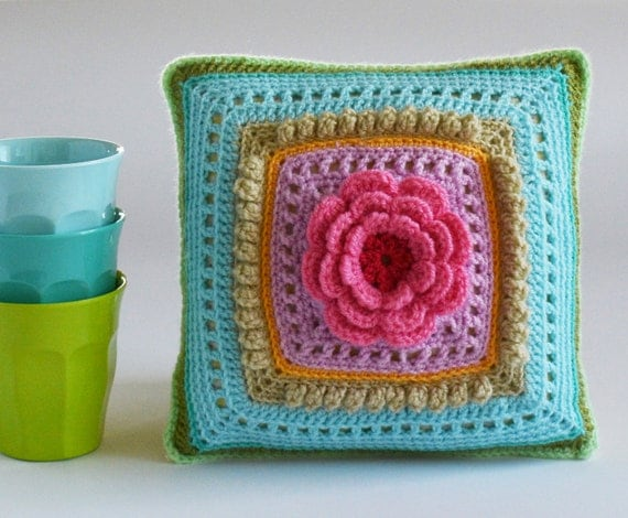 Crochet Flower Cushion, Pink Flower, Turquise, Purple, Yellow, Ready to ship by CrochetObjet