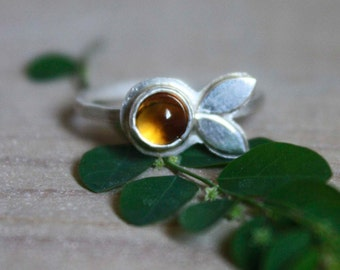 citrine flower sterling silver ring, Apricot flower, Made to order